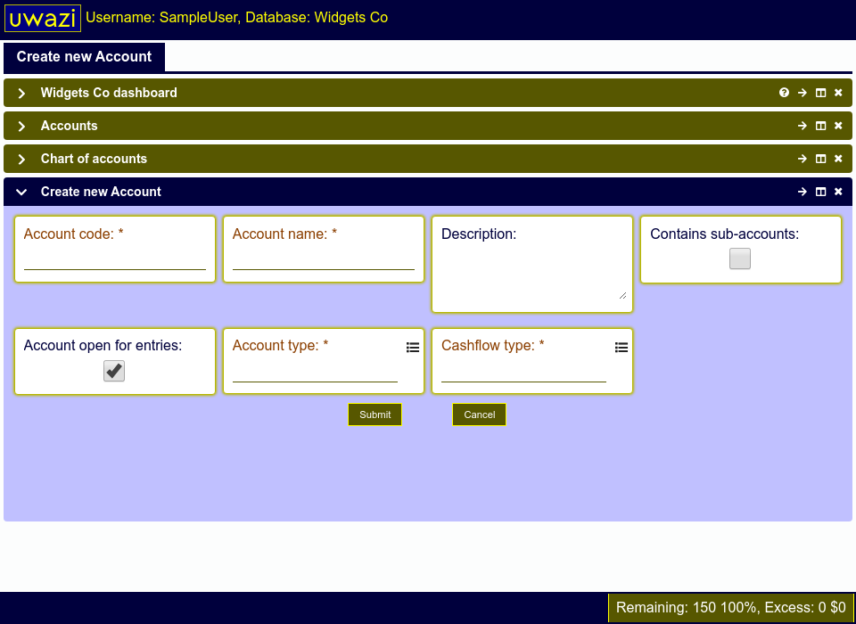 This screen allows you to create a new account in your Uwazi database