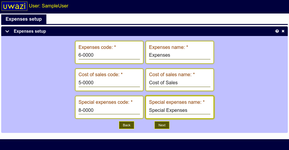 This screen shows fields allowing you to setup name and codes for expense accounts in your Uwazi database