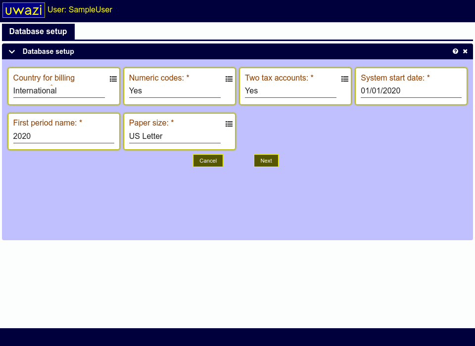 A setup screen showing database setup options.
