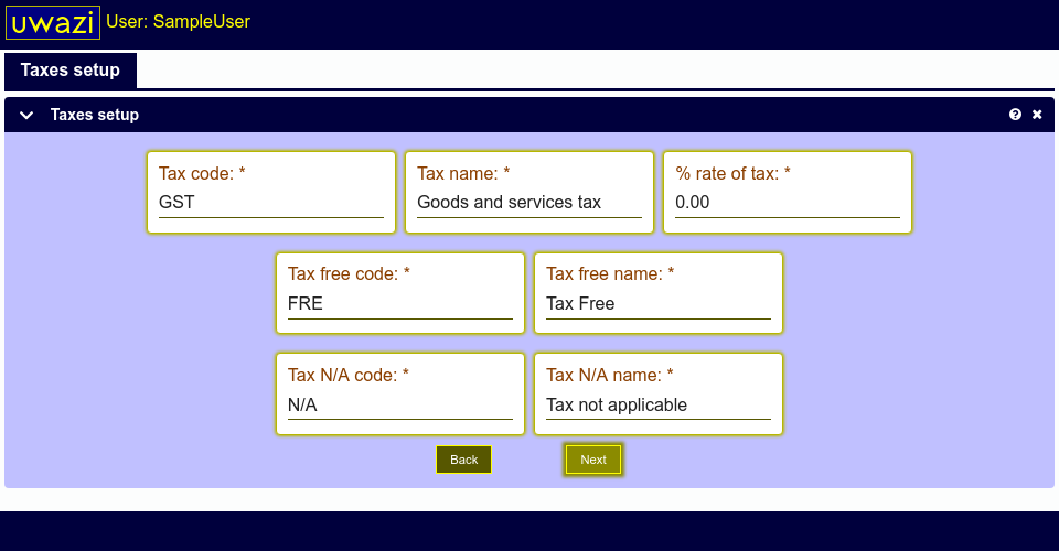 This screen shows fields allowing you to setup name and codes for tax types in your Uwazi database