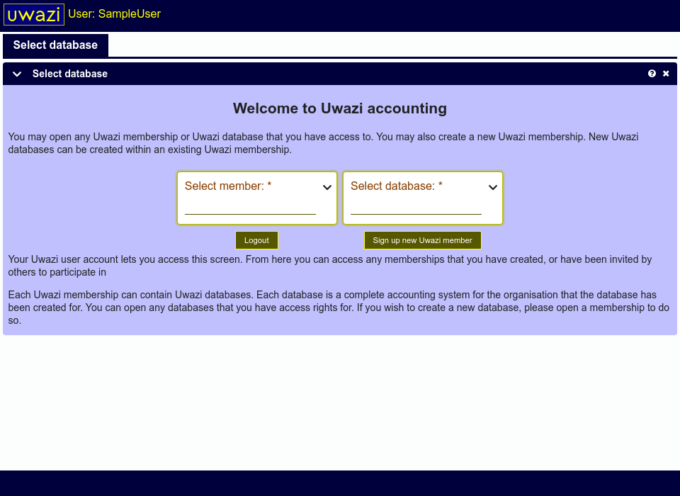 This screen shows two selection boxes. The first is used to select memberships that you can access. The second allows you to select any databases that you can access. A logout button and a button to create new memberships are available.